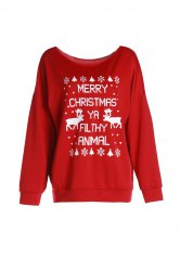 Fresh Style Letter and Snowflake Print Pullover Christmas Sweatshirt For Women - RED