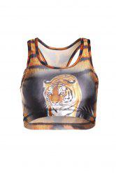 Stylish U Neck Tiger Printed Tank Top For Women - BROWN
