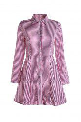 Stylish Shirt Collar Long Sleeves Striped Asymmetrical Women's Dress - RED