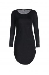 Stylish Slash Neck 3/4 Sleeve Bodycon Dress For Women - BLACK