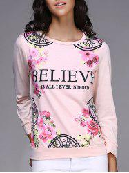 Fresh Style Jewel Neck Letter and Rose Printed Pullover Sweatshirt For Women - PINK
