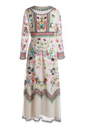 Gorgeous Round Neck Long Sleeve Floral Embroidery Women's Evening Dress -