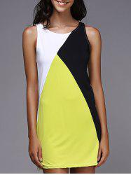 Tank Color Block Casual Daytime Dress Outfit - YELLOW AND BLACK