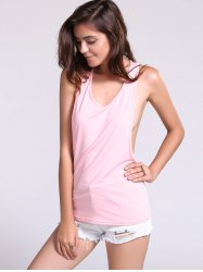 Backless Fropped Armhole Tank Top - PINK