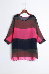 Fashion Style Colorful Stripe Print Loose Fit Chiffon Blouse + Vest Women's Summer Twinset