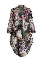 Graffiti Print Plus Size Chiffon Tunic Shirt - COLORMIX