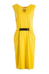 Faux Belt Embellished Ruched Bodycon Work Dress - YELLOW