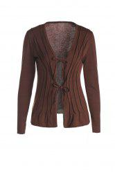Stylish Plunging Neck Long Sleeve Solid Color Lace-Up Blouse For Women