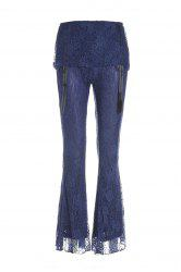 Stylish Elastic Waist Solid Color Boot Cut Lace Pants For Women