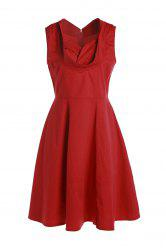 Vintage Sweetheart Neck Sleeveless Solid Color Ball Gown Women's Dress