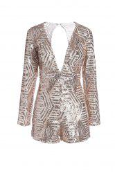 Plunging Neck Long Sleeve Sequin Backless Cut Out Romper