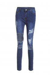 High Waisted Cut Out Frayed Knee Jeans