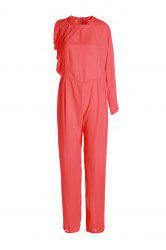 Plus Size Asymmetric Chiffon Jumpsuit
