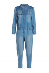 Stylish V Neck Long Sleeve Blue Denim Women's Jumpsuit -