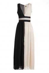 Maxi Two Tone Sleeveless Low Cut Cocktail Dress