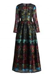 Elegant Round Neck Long Sleeve Colorful Vintage Print Women's Maxi Voile Dress