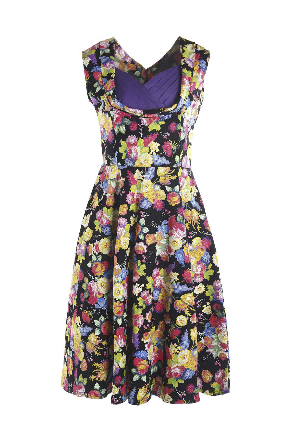 Cheap Sweet Style Sweetheart Neck Sleeveless Floral Print Women's Dress