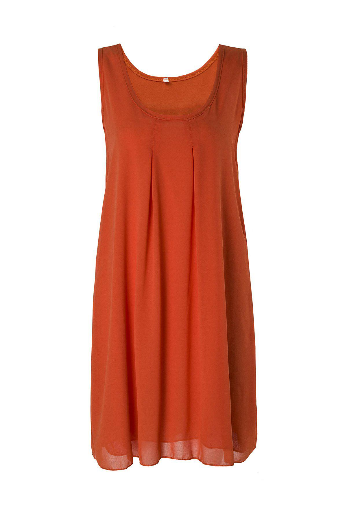 Lady Casual Round Neck Sleeveless Solid Color Women's Sundress