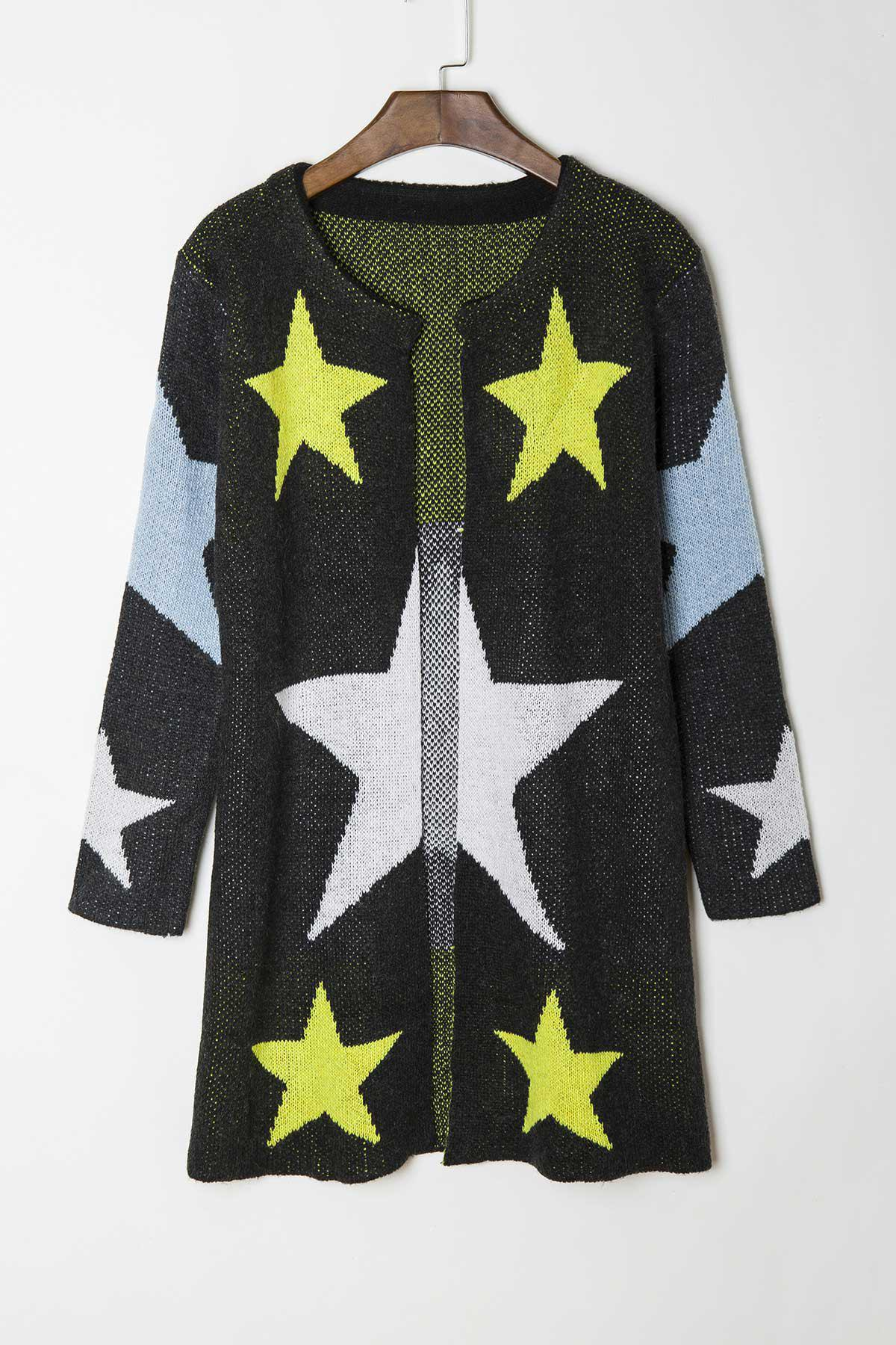 Outfit Fashionable Round Collar Star Pattern Long Sleeve Cardigan For Women