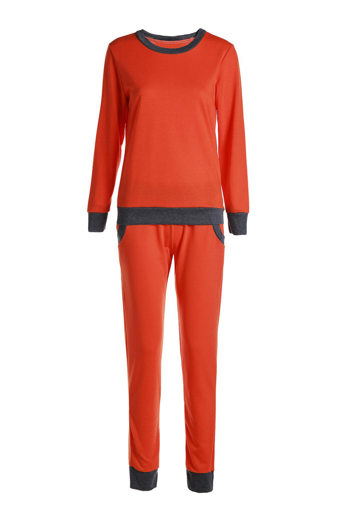 Casual Col rond Activewear de manches longues Color Block de poche design Femmes Suit Tangerine S