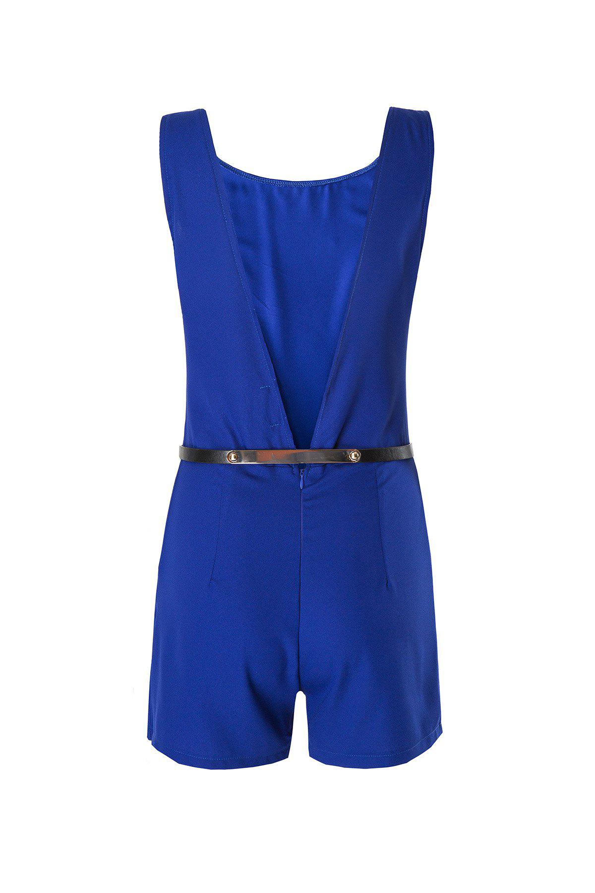 Sale Pockets Open Back Romper with Belt