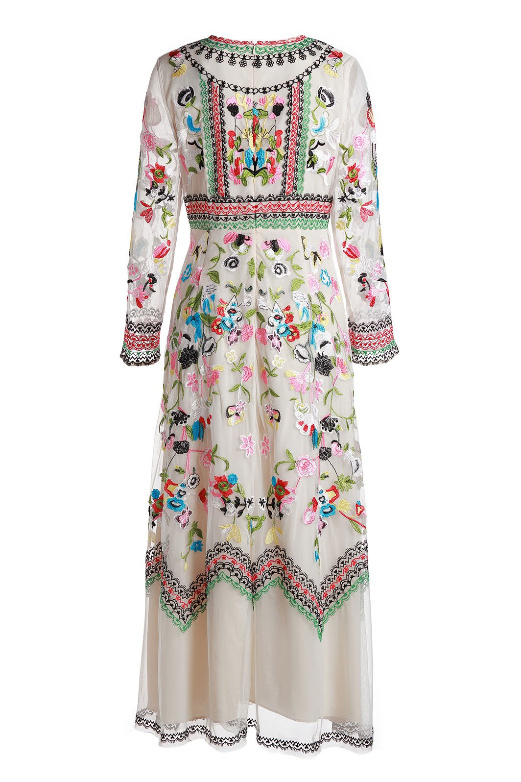 Affordable Gorgeous Round Neck Long Sleeve Floral Embrodery Women's Evening Dress