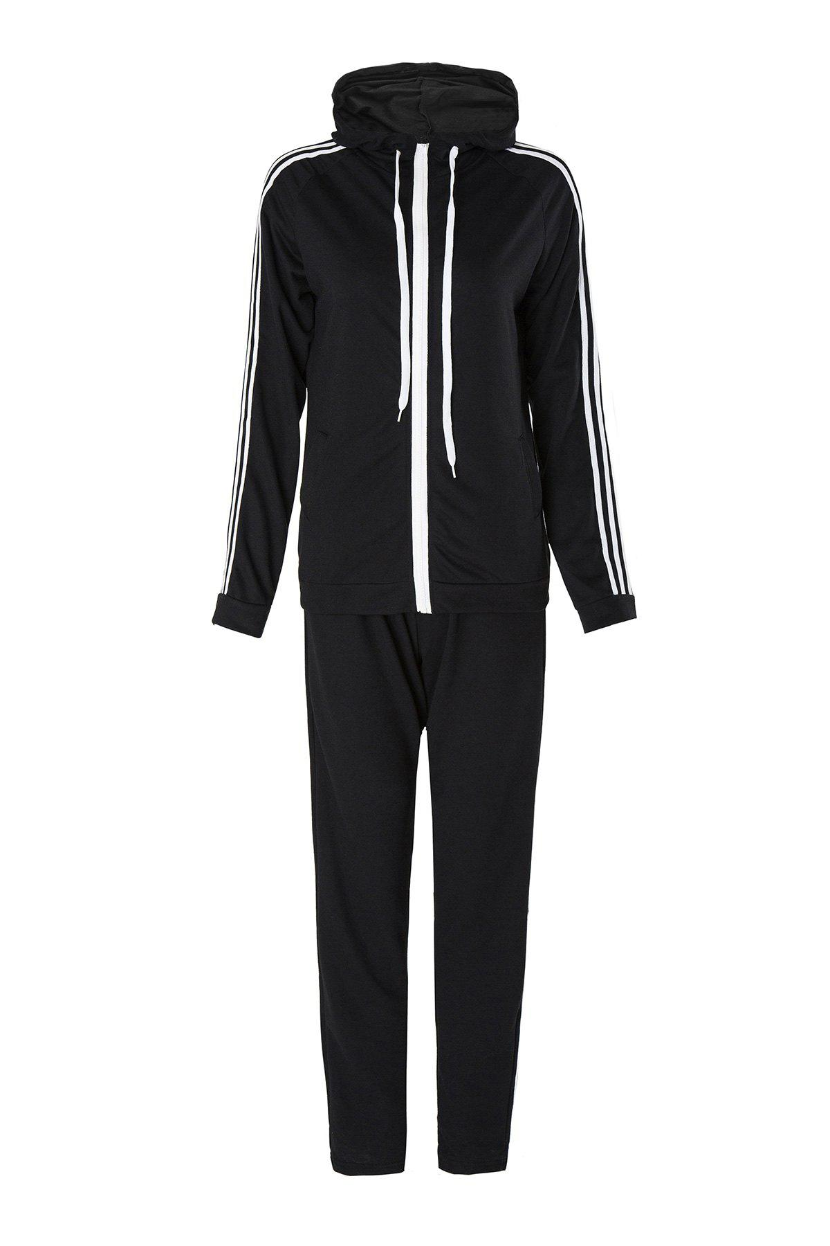 Shops Active Hooded Long Sleeve Striped Jacket + Waist Drawstring Pants Women's Activewear Suit