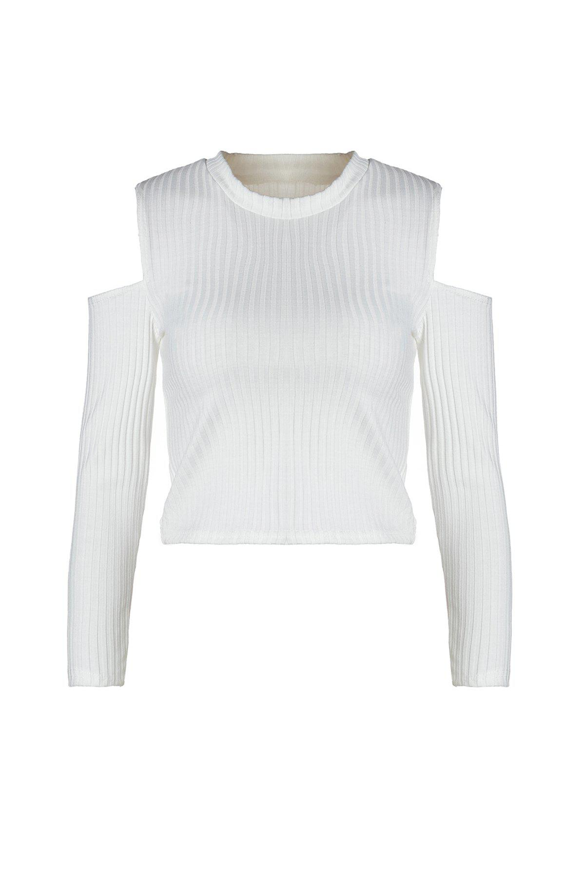 Chic Stylish Round Neck Long Sleeve White Knit Women's Crop Top