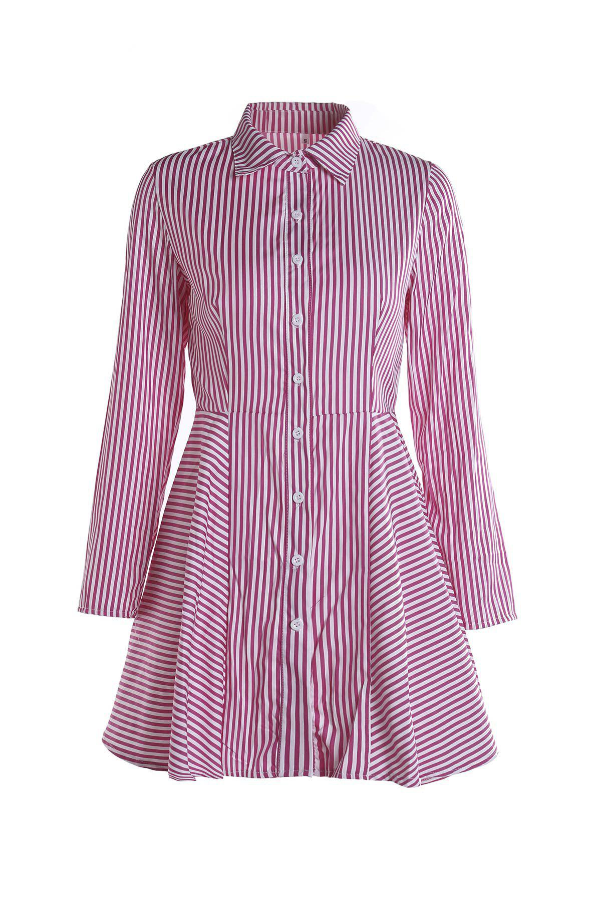 Online Stylish Shirt Collar Long Sleeves Striped Asymmetrical Women's Dress