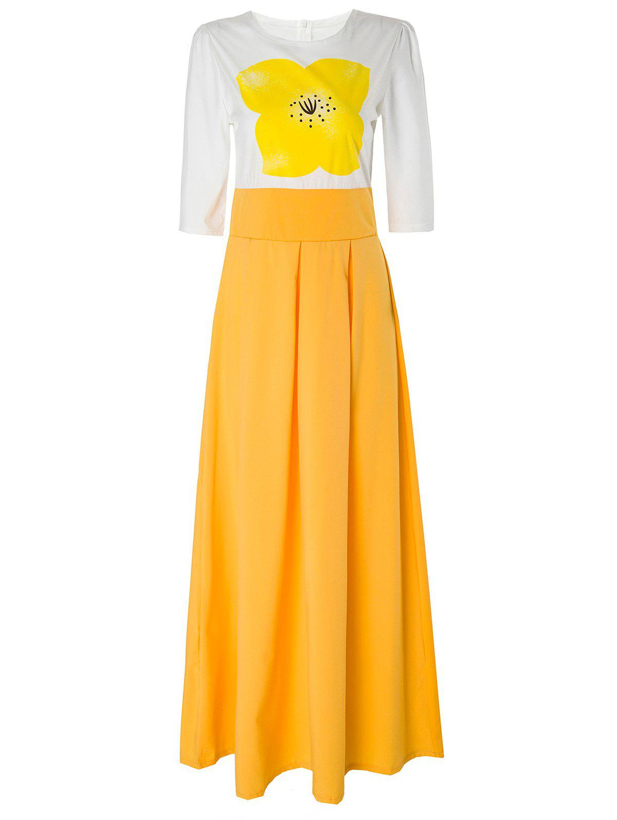 Shops Stylish Round Neck Short Sleeve Yellow Floral Women's Maxi Dress