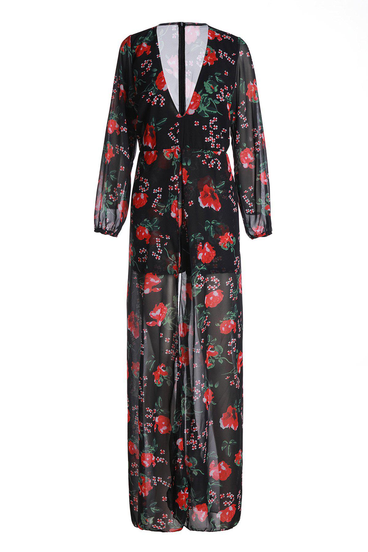 Outfits Charming Plunging Neck Floral Printed High Low Romper For Women