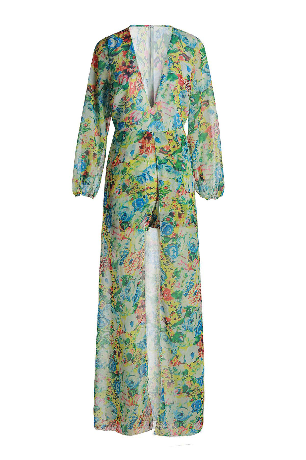 Shop Refreshing Plunging Neck Floral Printed High Low Romper For Women