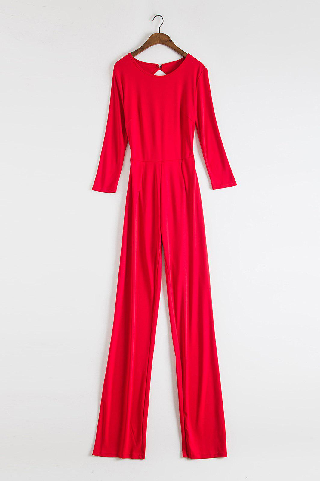 New Stylish Round Neck 3/4 Sleeve Backless Wide Leg Women's Red Jumpsuit