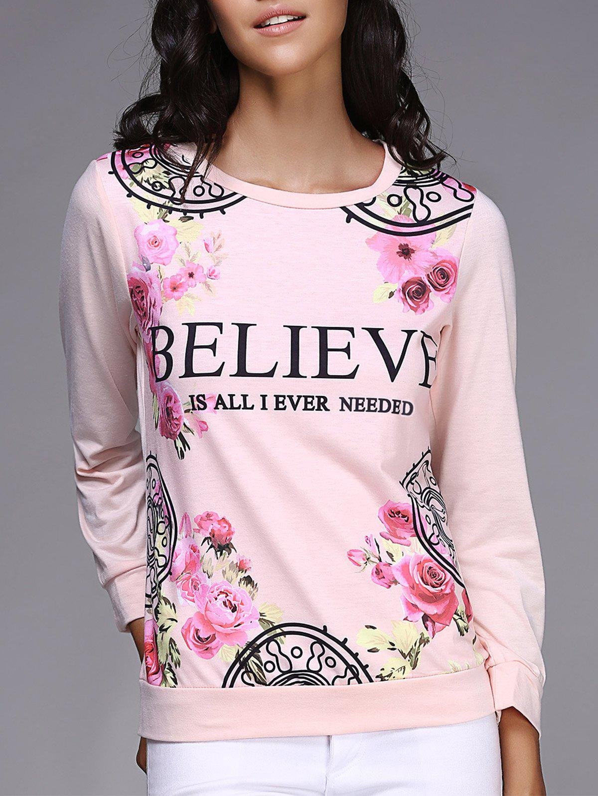 Trendy Fresh Style Jewel Neck Letter and Rose Printed Pullover Sweatshirt For Women