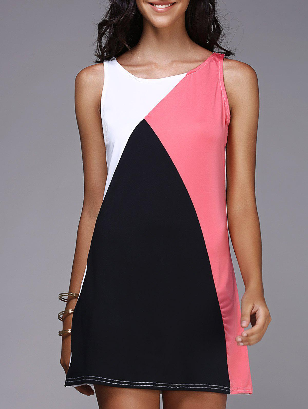 Tank Color Block Casual Daytime Dress OutfitWOMEN<br><br>Size: S; Color: BLACK AND PINK; Style: Casual; Material: Polyester; Silhouette: A-Line; Dresses Length: Mini; Neckline: Round Collar; Sleeve Length: Sleeveless; Pattern Type: Others; With Belt: No; Season: Summer; Weight: 0.153kg; Package Contents: 1 x Dress;