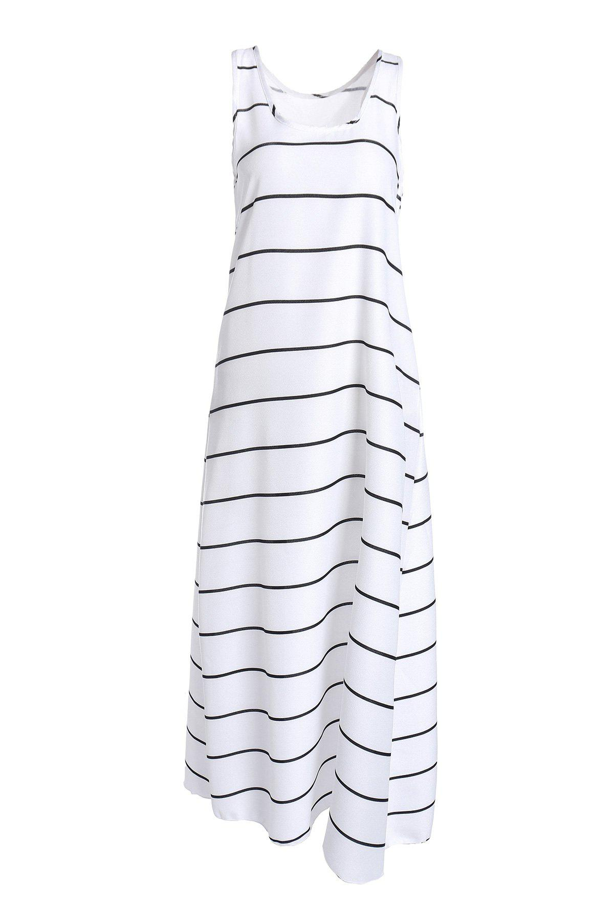 Outfit Casual U-Neck Sleeveless Striped Maxi Tank Top Dress For Women