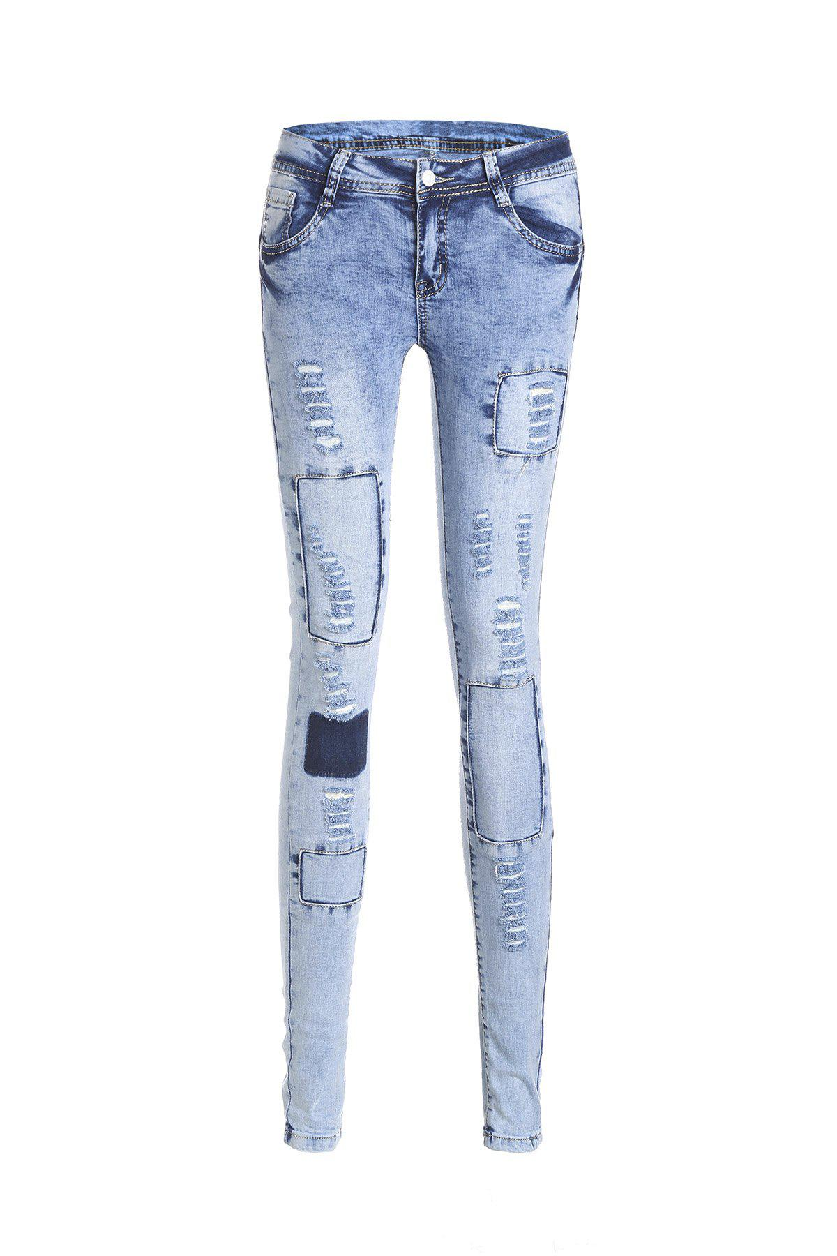 Outfit Stylish Low Waist Slimming Spliced Ripped Jeans For Women