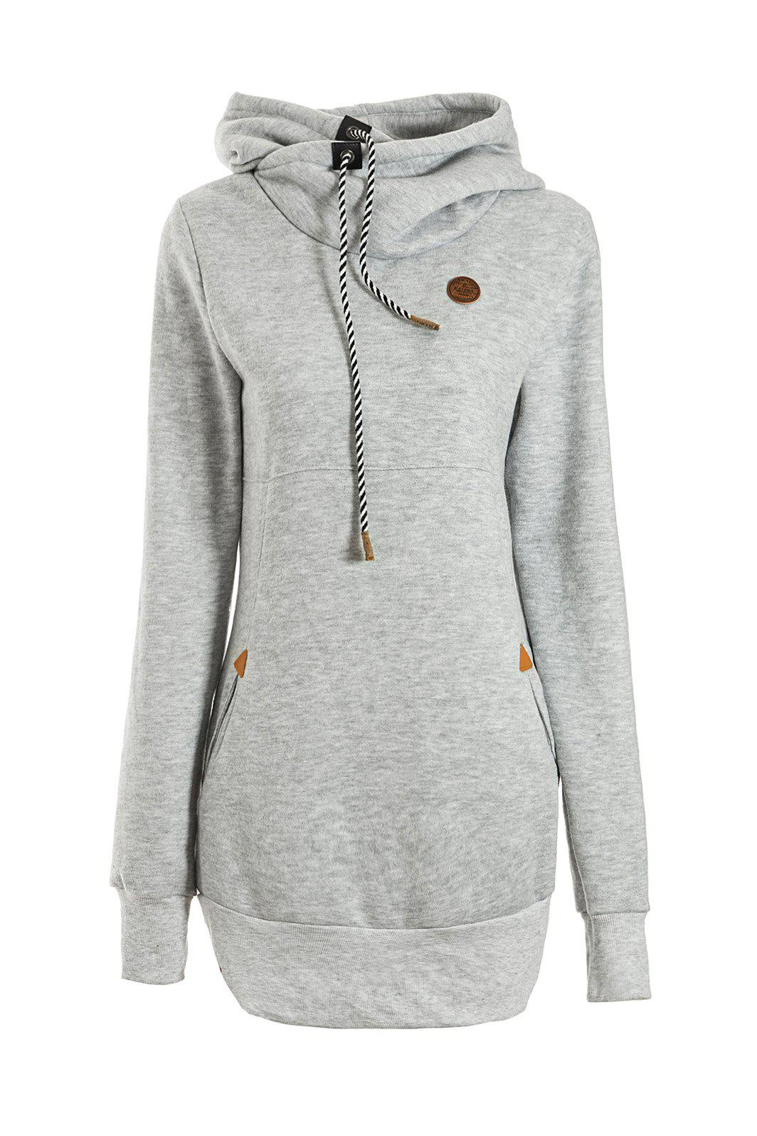 Best Chic Solid Color Long Sleeve Hooded Hoodie For Women
