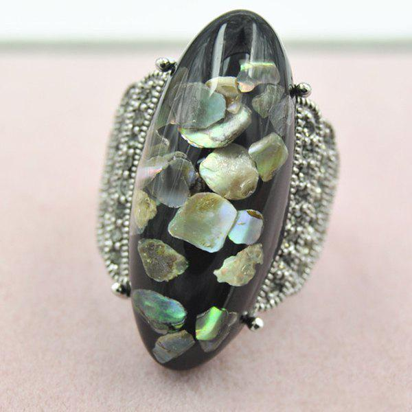 Retro Artificial Gem Shell Embossed RingJEWELRY<br><br>Size: ONE-SIZE; Color: BLACK; Gender: For Women; Metal Type: Alloy; Style: Trendy; Shape/Pattern: Others; Diameter: 17MM; Weight: 0.030kg; Package Contents: 1 x Ring;
