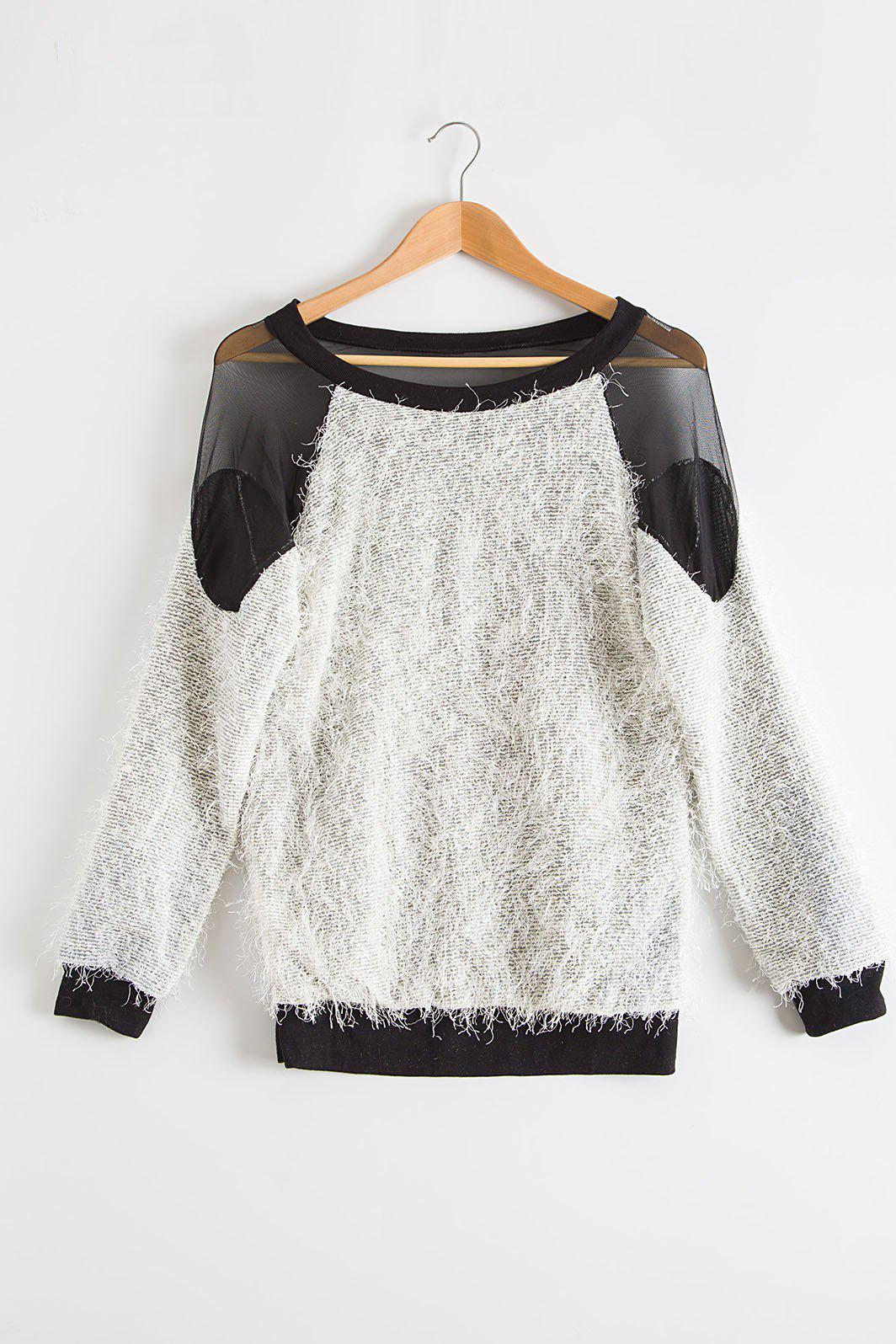 Fashion Sexy Round Neck Long Sleeve See-Through Voile Spliced Women's Sweater