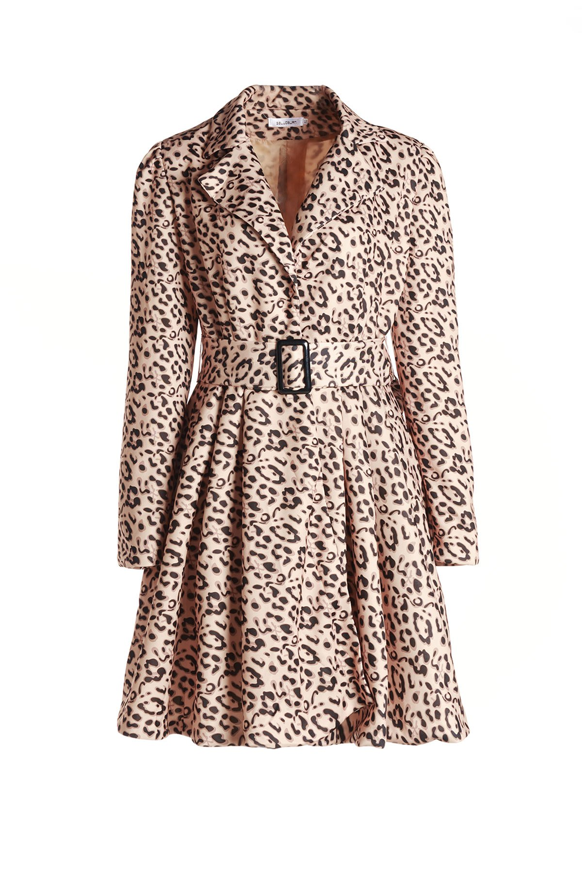 Latest Long Sleeve Leopard Print Belted Trench Coat Dress