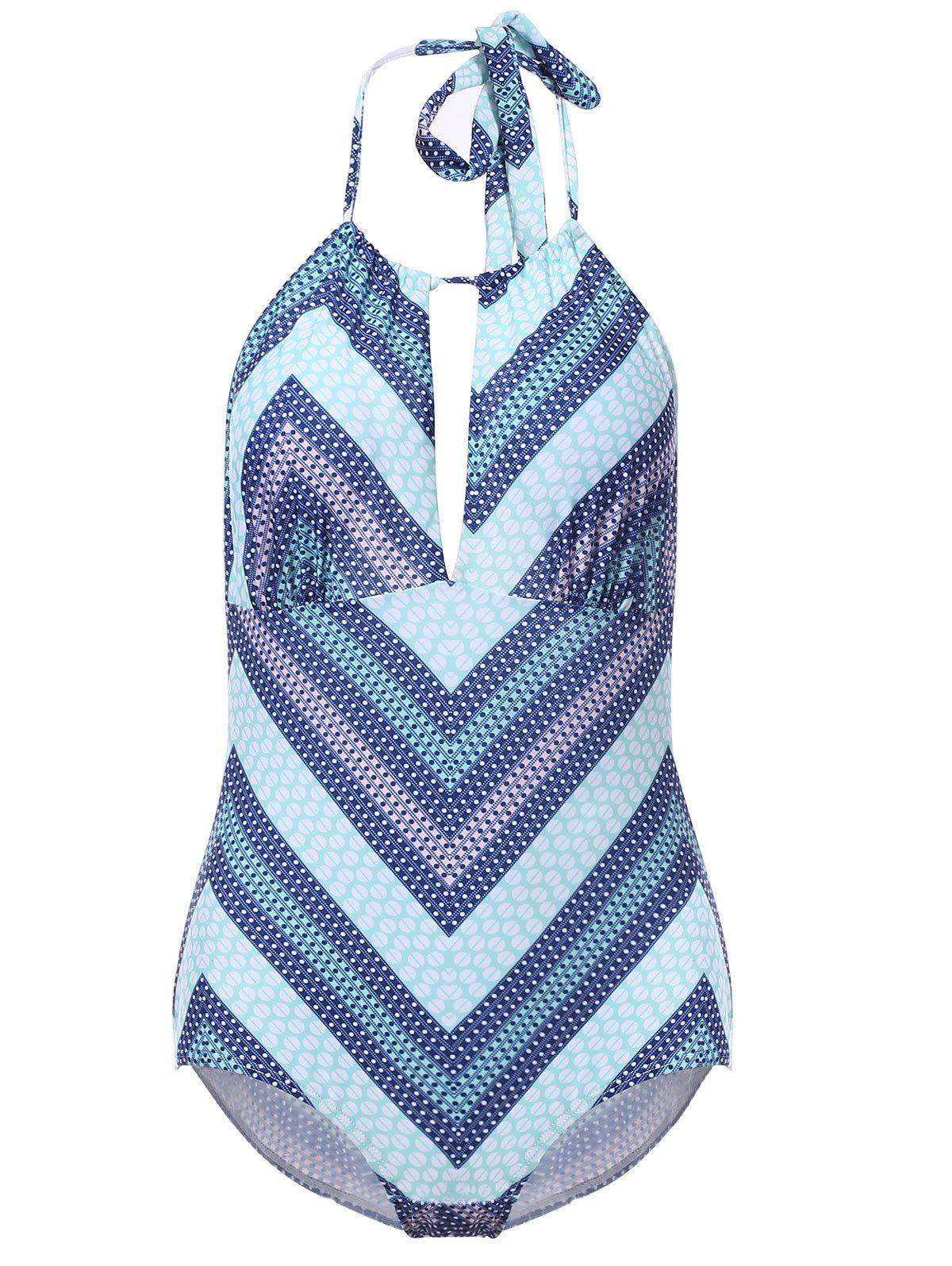 Cheap Sexy Halter Backless Cut Out Chevron One-Piece Swimwear For Women