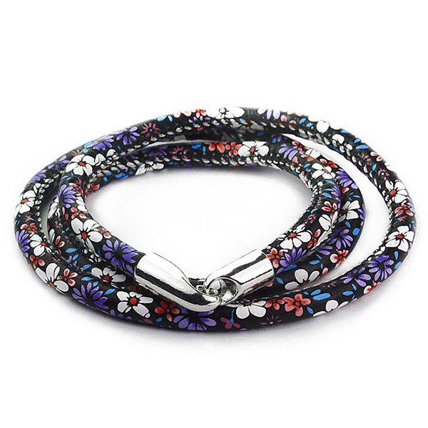 Multilayer Tiny Floral Print Wrap BraceletJEWELRY<br><br>Color: PURPLE; Item Type: Wrap Bracelet; Gender: For Women; Chain Type: Leather Chain; Style: Trendy; Shape/Pattern: Floral; Weight: 0.032kg; Package Contents: 1 x Bracelet;