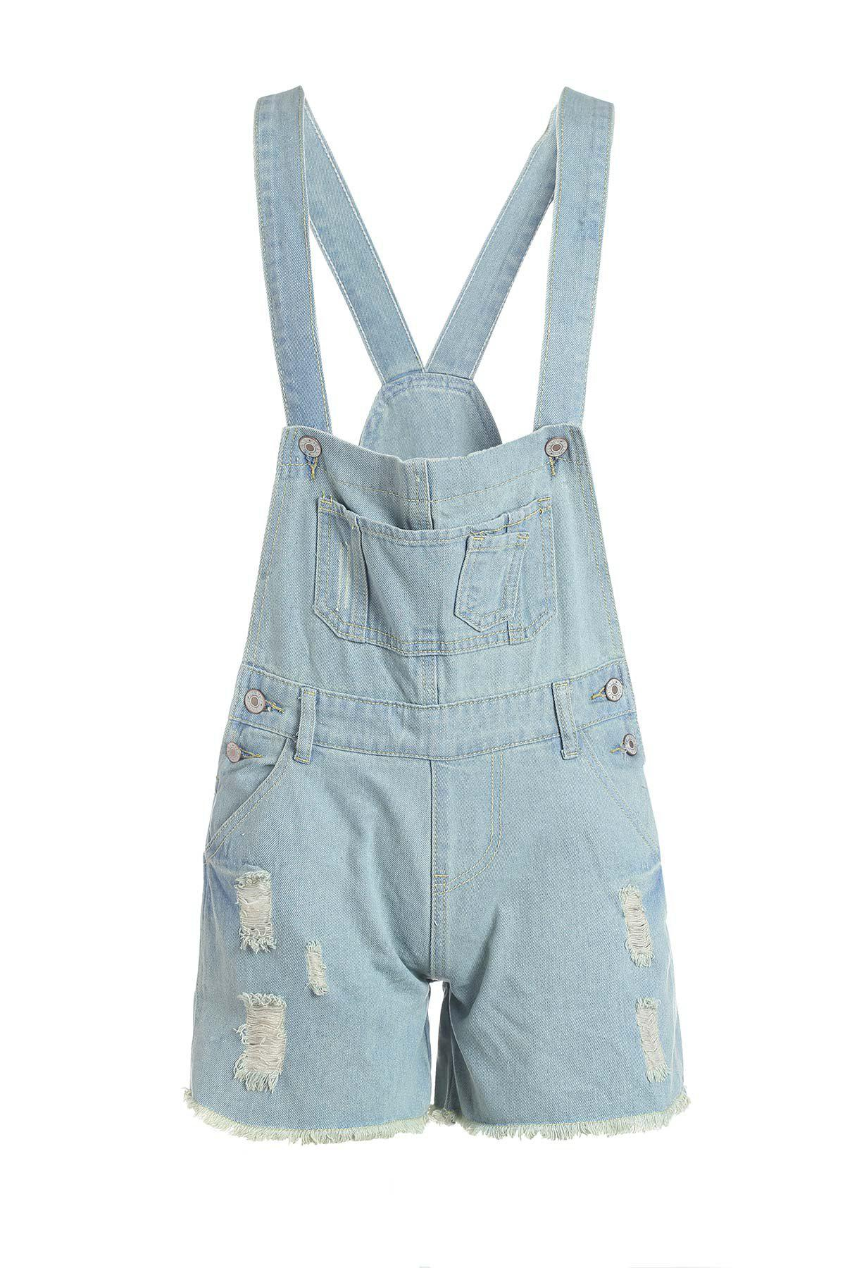 Discount Ripped Design Buttons Embellished Denim Women's Overalls Shorts
