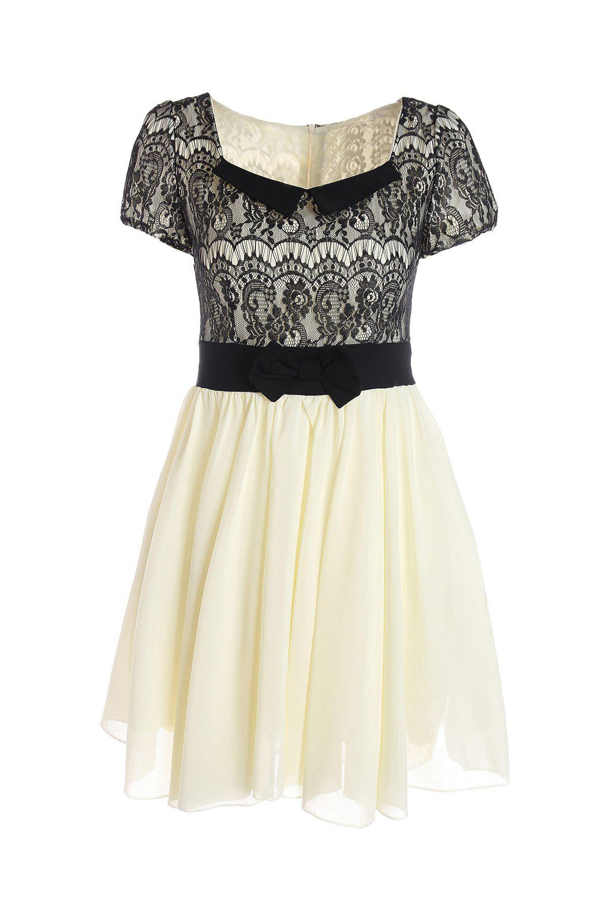 Fashion Vintage Sweetheart Neckline Lace Splicing Bow Short Sleeves Women's Dress