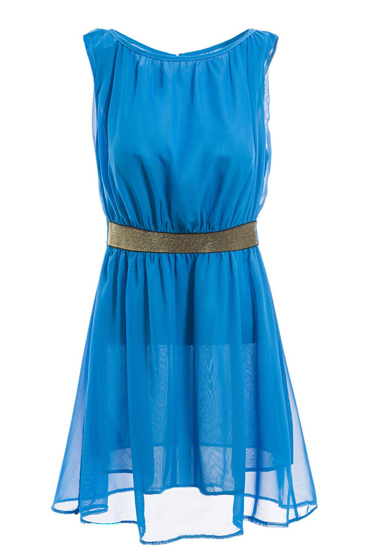 Latest Cut Out Sleeveless Round Neck See-Through Ladylike Style Chiffon Women's Dress