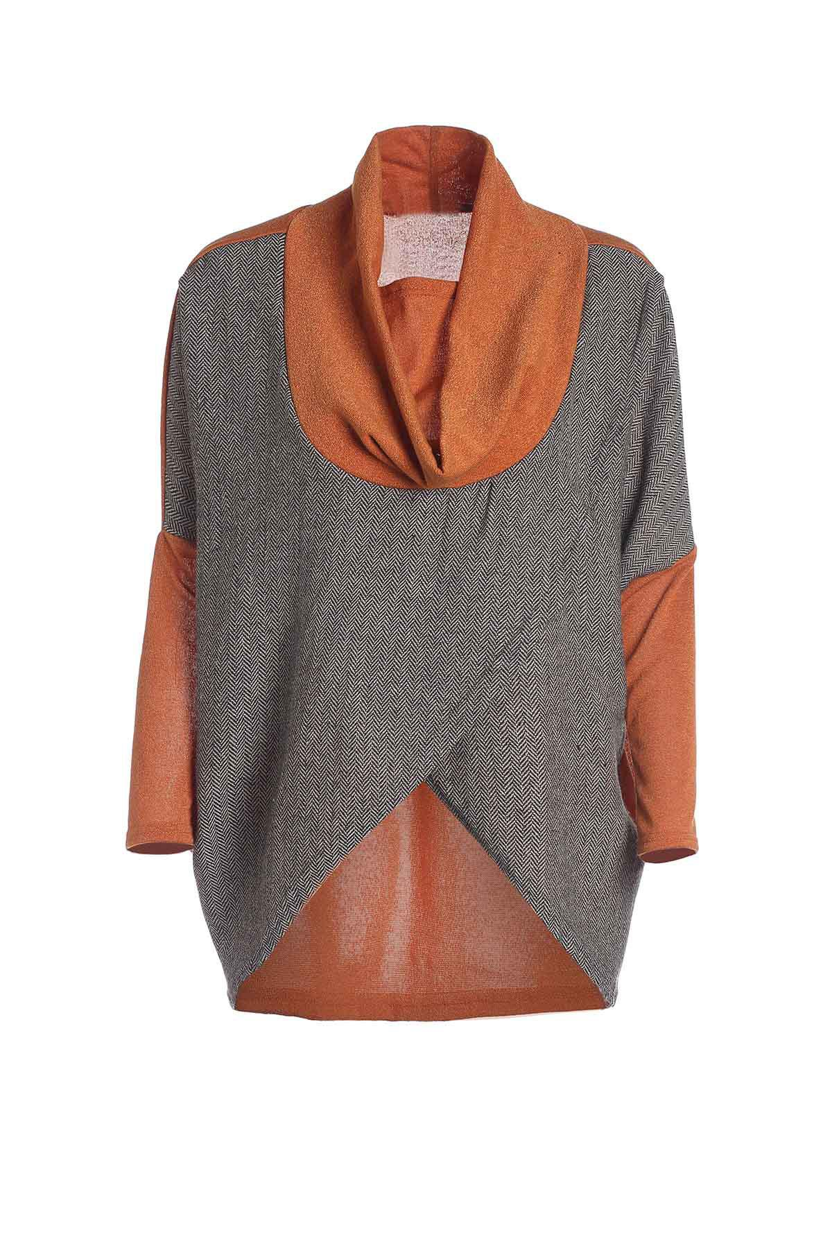 Stylish Cowl Neck Long Sleeves Color Match Batwing Irregular Design Cotton Blend Womens SweaterWOMEN<br><br>Size: ONE SIZE; Color: JACINTH; Type: Pullovers; Material: Acrylic; Sleeve Length: Full; Collar: Cowl Neck; Style: Casual; Pattern Type: Patchwork; Season: Fall,Spring; Weight: 0.450kg; Package Contents: 1 x Sweater;