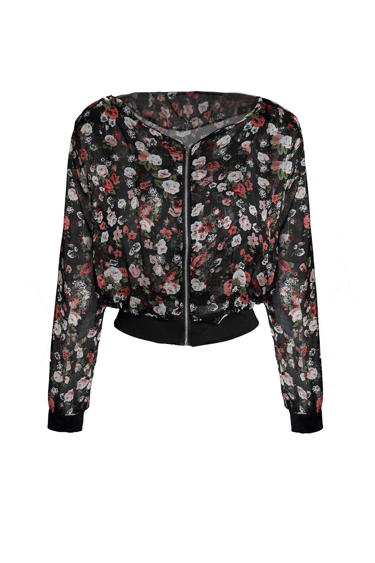 Online Stylish Scoop Neck Floral Print Zipper Shoulder Pad Chiffon Women's Coat