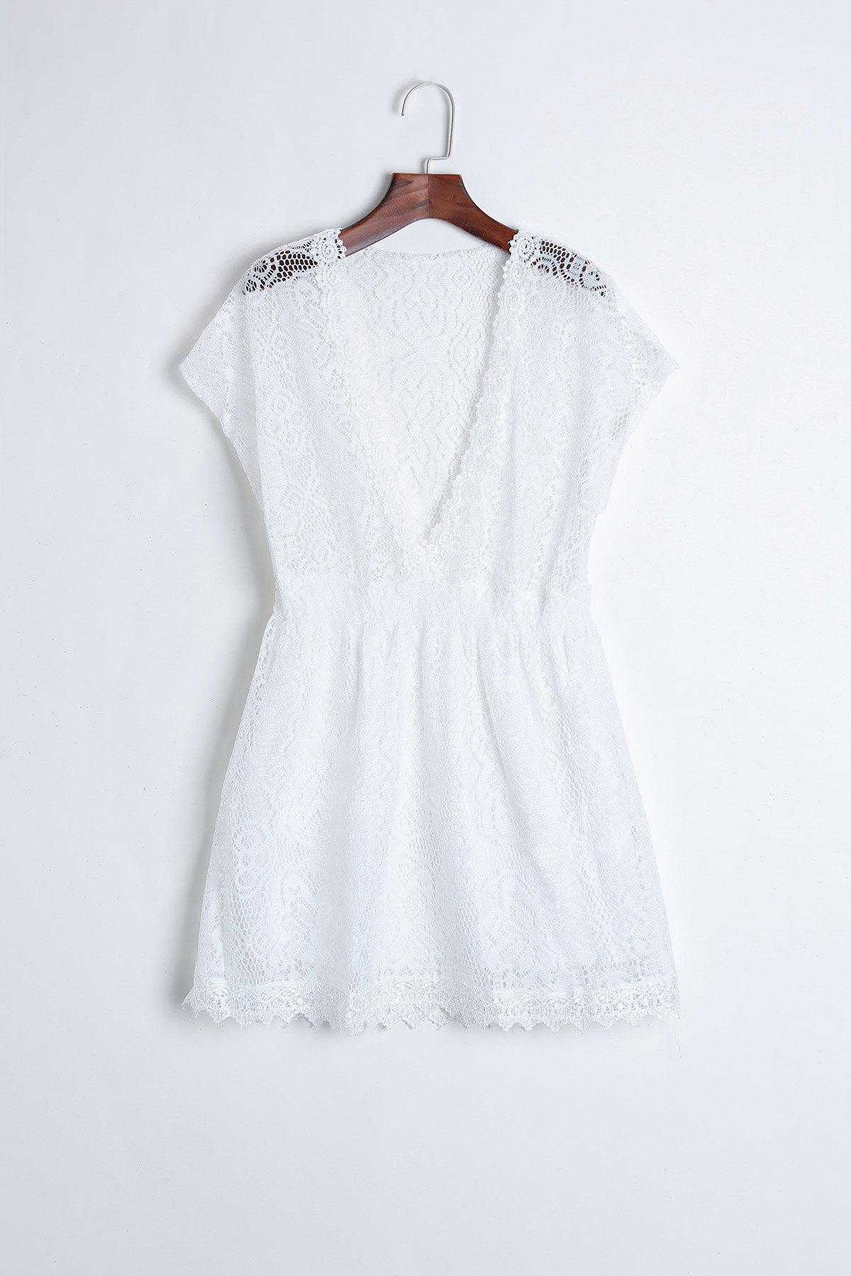 Sexy Plunging Neckline Elastic Waist Short Sleeve Mini Lace Dress For WomenWOMEN<br><br>Size: ONE SIZE; Color: WHITE; Style: Cute; Material: Lace; Silhouette: A-Line; Dresses Length: Mini; Neckline: Plunging Neck; Sleeve Length: Short Sleeves; Embellishment: Lace; Pattern Type: Solid; With Belt: No; Season: Summer; Weight: 0.167kg; Package Contents: 1 x Dress;