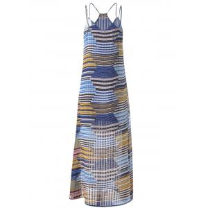 Bohemian Long Striped Spaghetti Strap Dress For Women - GREY AND WHITE AND BLUE S